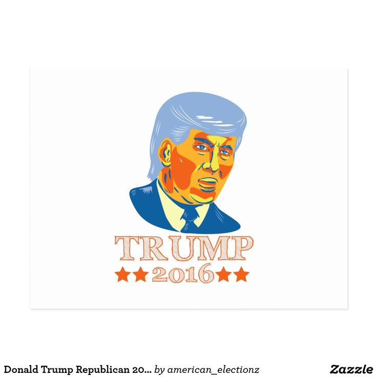 Donald Trump Republican 2016 Postcard. 2016 American elections postcard with an illustration showing American real estate magnate, television personality, politician and Republican 2016 presidential candidate Donald John Trump isolated background. #Trump2016 #republican #americanelections #elections #vote2016 #election2016