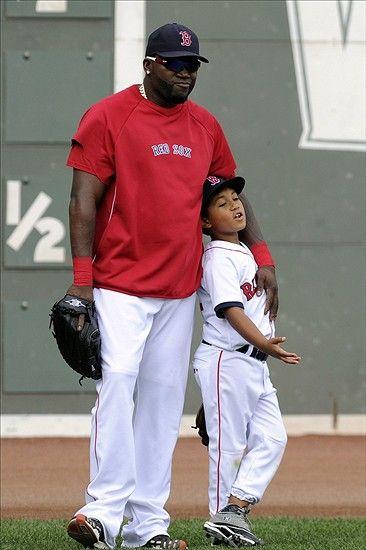 MLB: Kansas City Royals at Boston Red Sox August 24, 2012; Boston, MA, USA; Boston Red Sox designated hitter David Ortiz (34) with son D