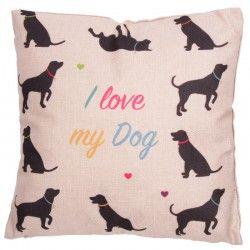 Cuscino divano arredo casa letto tessuto cane I love my dog
