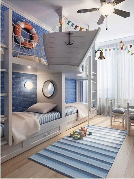 Nautical kids room.  A little over the top, but interesting.