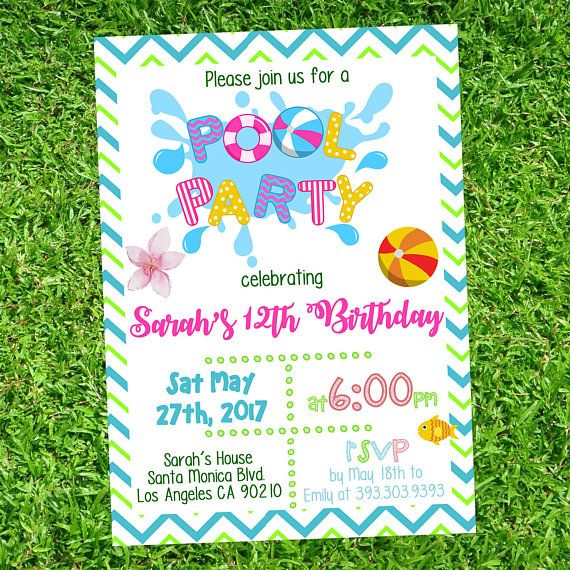 Girl pool party birthday invitation - Girl pool partyinvites -Girl Summer Party - Girl Birthday  PDF Instant Download Editable