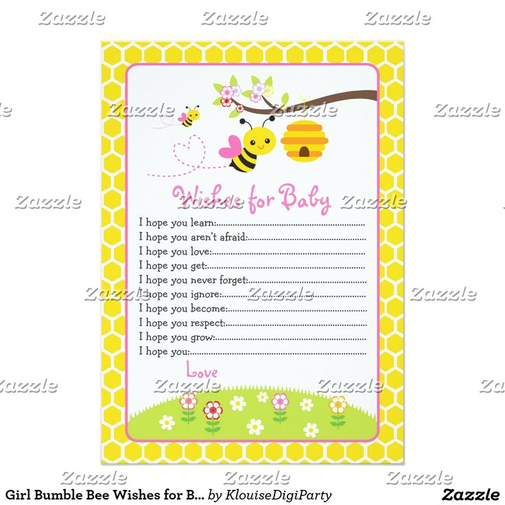 Girl Bumble Bee Wishes for Baby Advice Card
