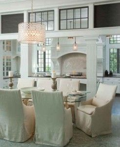 """House from the tv show """"Revenge"""".  Get the Oly Studio Serena drum chandi and dining chairs from Layla Grayce"""