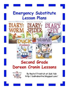 These are one-day emergency substitute teacher lesson plans written on a second grade level with a Doreen Cronin theme. It includes a warm up, a re...Grade Emergency, Emergency Sub Plans, Free 2Nd, 2Nd Grades, Free Emergency, Cronin Theme, Doreen Cronin, Emergency Substitute, Second Grade