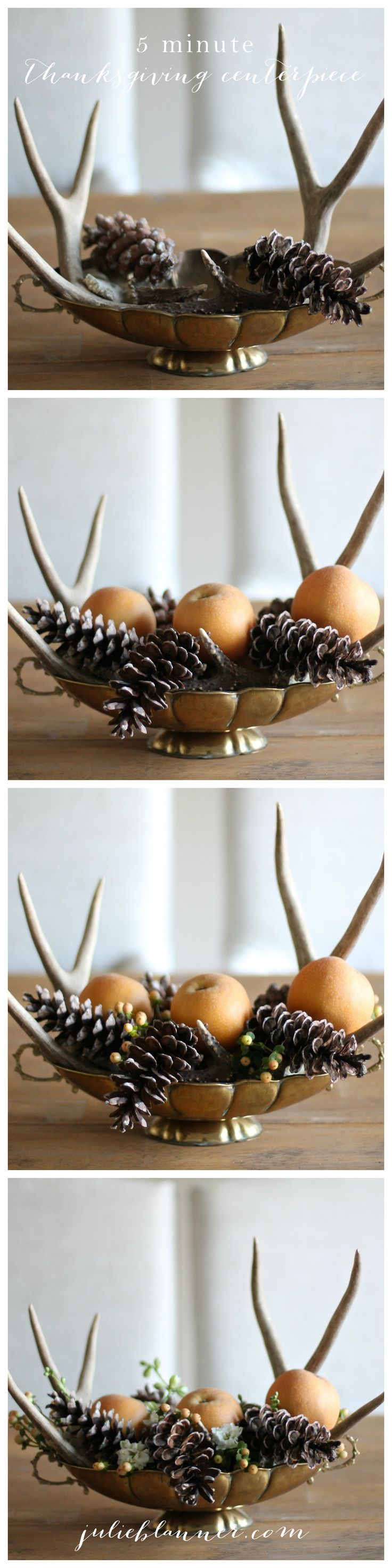 Easy Thanksgiving decorations, a 5 Minute Thanksgiving Centerpiece Tutorial - no experience needed!