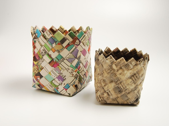 Wastebaskets made from old maps or Sunday comics.