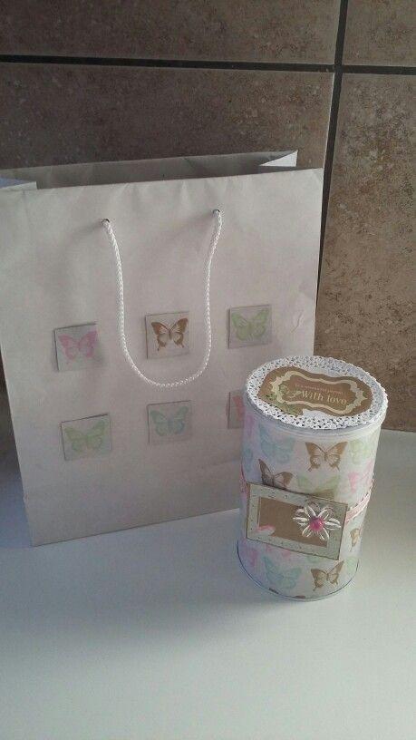 Home made gift-tin and matching gift-bag