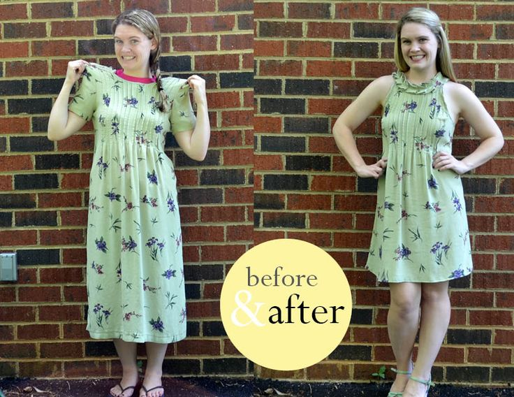 Tutorial on how to remake a thrift store dress into a new cute one with a ruffle. Green Flower dress. Remaking old clothes