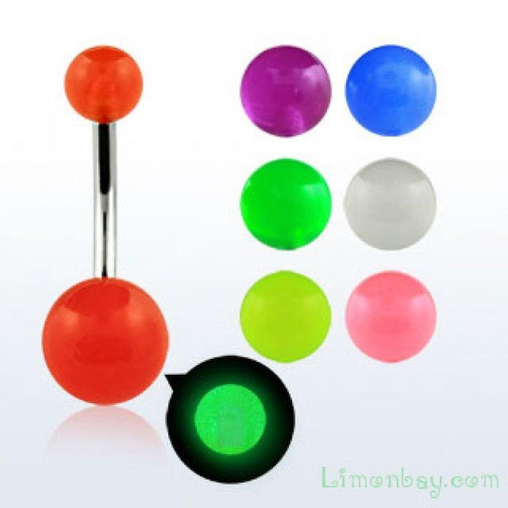 Piercing de ombligo con bolas UV: brillan en la oscuridad