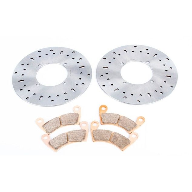 2008 2009 Polaris Ranger 500 2x4 Front Brake Rotors and Severe Duty Brake Pads, Silver stainless steel