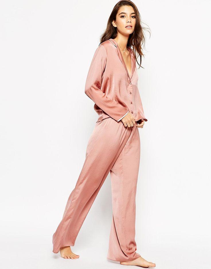 Image 1 ofASOS Moss Satin Piped Pyjama Top & Wide Leg Set