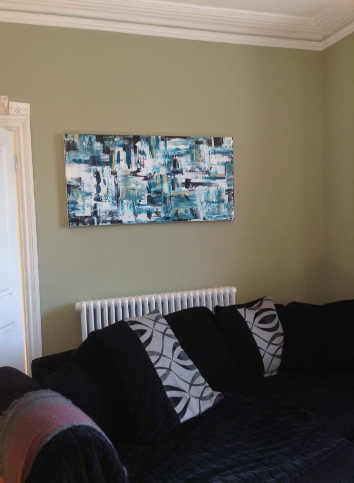 Original turquoise abstract in its lovely home in Poole #artsbyjaime