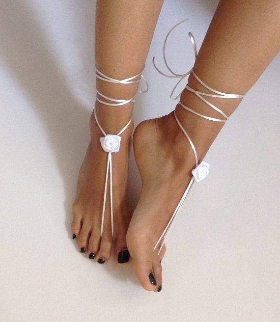 white barefoot sandles wedding Bikini  Women  Beach by SibelDesign