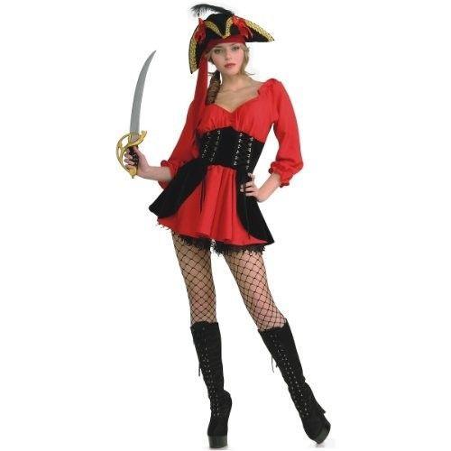 Secret Wishes Women's Sassy Pirate Wench Costume Dress, Red/Black, Medium