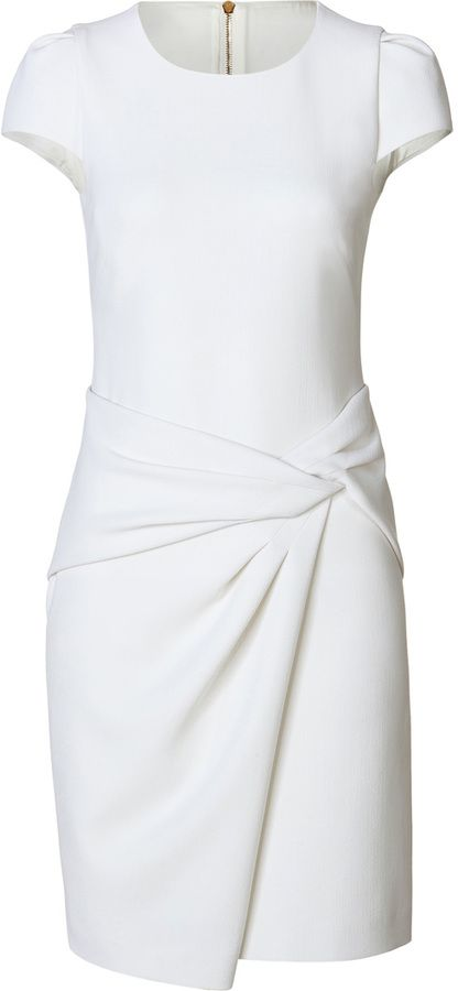 $980, White Sheath Dress: Emilio Pucci Stretch Wool Draped Skirt Sheath. Sold by STYLEBOP.com. Click for more info: https://lookastic.com/women/shop_items/72093/redirect