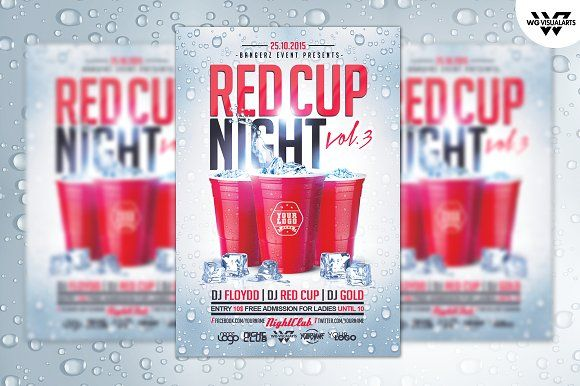 RED CUP Flyer Template by WG-VISUALARTS on @creativemarket