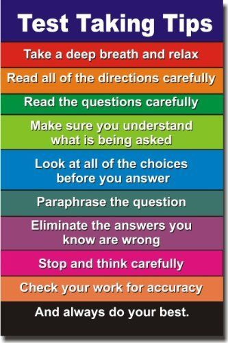 Test Taking Tips - NEW Classroom Motivational Poster by PosterEnvy, http://www.amazon.com/dp/B004Q1YMZI/ref=cm_sw_r_pi_dp_yVNksb017ZN97