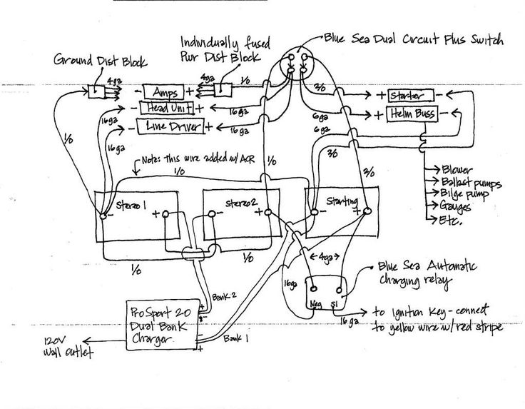 Wiring Diagram for Blue Sea Add A Battery (Switch + ACR