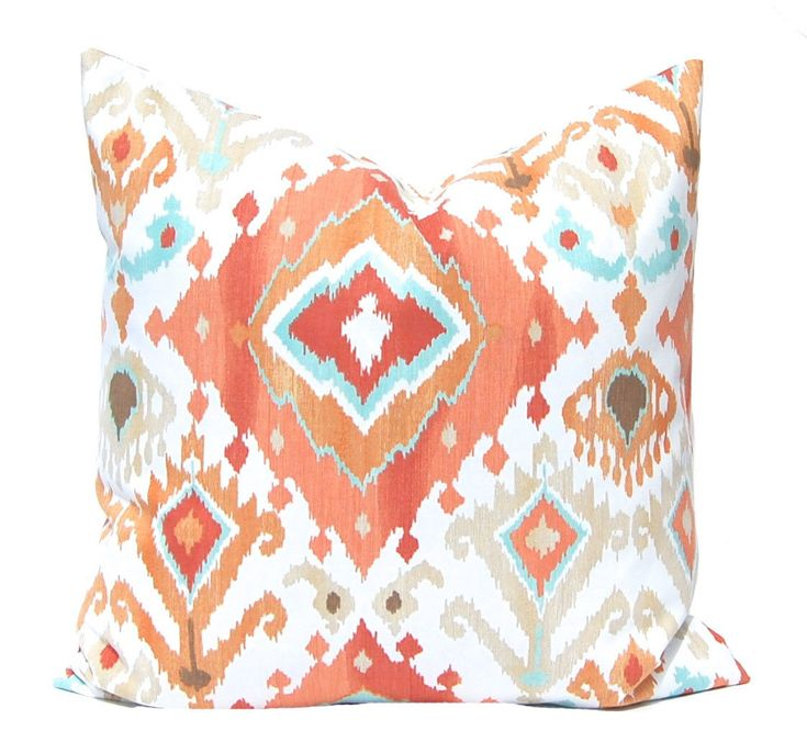 Orange Pillow Cover, Ikat Pillow Cover, Throw Pillow Cover, Orange Ikat with Turquoise, Ikat Cushion Cover, Ikat Pillow with Orange and Aqua by CompanyTwentySix on Etsy https://www.etsy.com/listing/187727095/orange-pillow-cover-ikat-pillow-cover