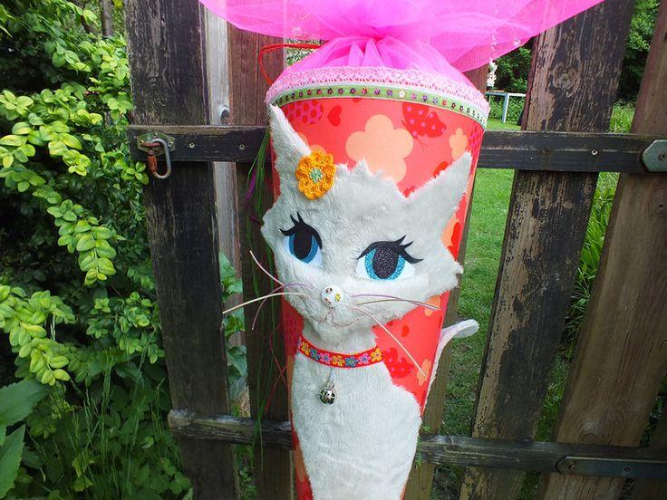 Schultüten - Schultüte Katze creme - bunt 85cm - ein Designerstück von annicolt…