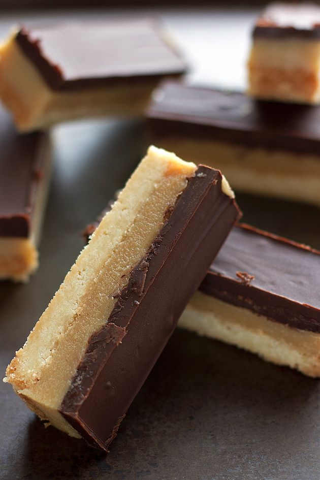 Chocolate caramel shortbread bars with 3 layers. The buttery shortbread crust, gooey caramel, and rich chocolate on top. Millionaire bars.