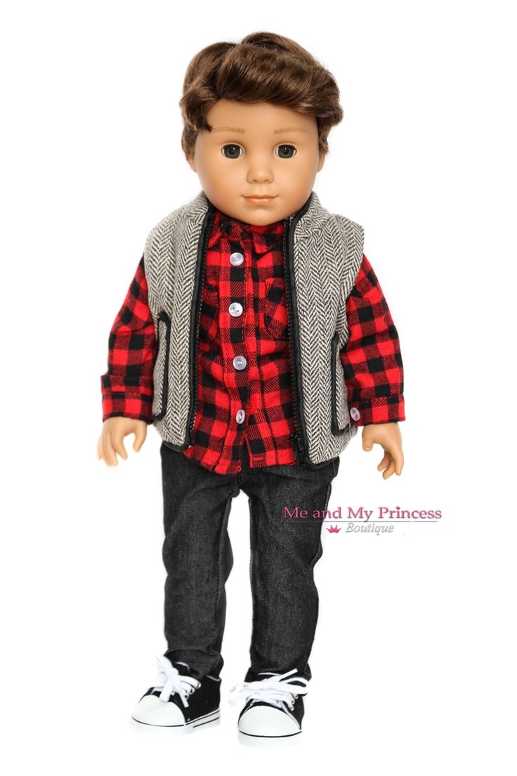 American Boy Doll Clothes - Herringbone Vest, Black Jeans and Plaid Shirt