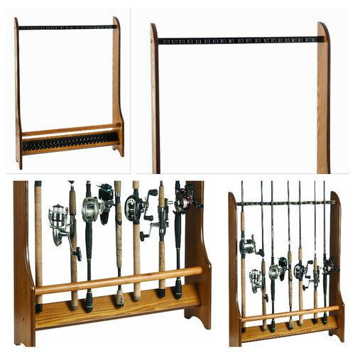 Fishing-Rod-Rack-Organizer-Holder-Storage-Wood-Oak-Combos-Accessories-Floor-New