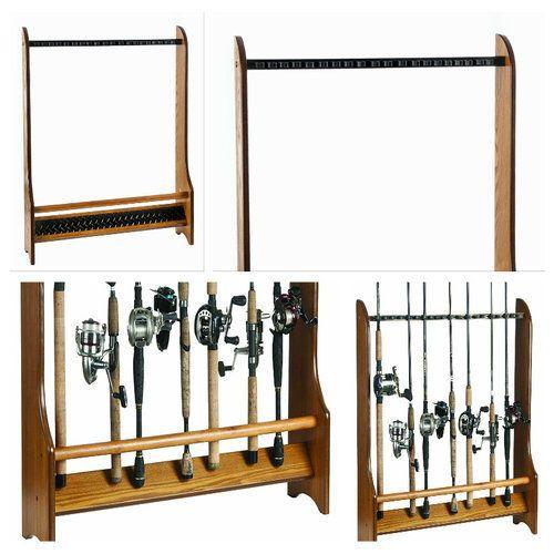 Fishing-Rod-Rack-Organizer-Holder-Storage-Wood-Oak-Combos-Accessories-Floor-New