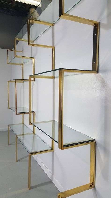 Architectural Brass Etagere Shelving Unit after Milo Baughman, 1970s 10