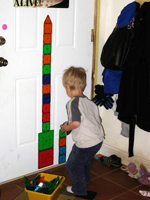 1-D building with Magna-Tiles on the door