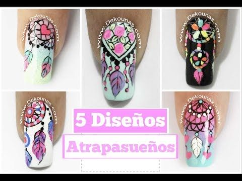 5 Diseños de uñas FACIL de Atrapasueños - 5 easy dreamcatcher nail art tutorial - YouTube