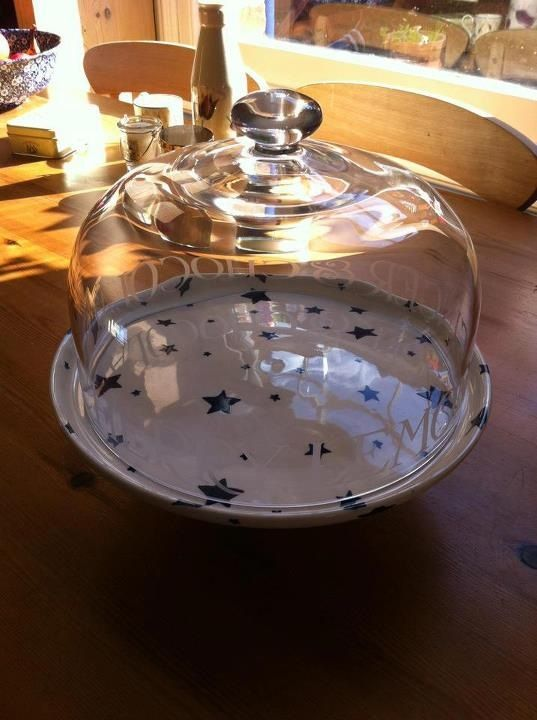 Emma Bridgewater Black Toast Glass Comport Dome and Starry Skies comport