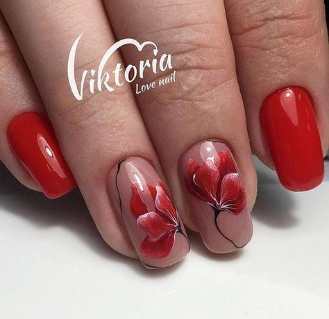 Картинки красные ногти дизайн