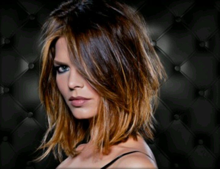 Caramel blonde Ombre highlights with dark brown! Gorgeous with the above the shoulder cut- and it's so glossy and shining~