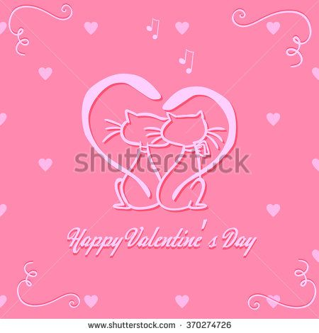 Valentine's Day poster. Vector illustration. Cat Vector, Love - stock vector