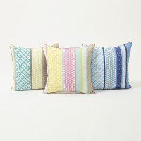 Striped Multi-Pattern Cushion Cover with Piping