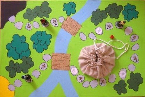 Un jeu de plateau pour les MS pour travailler la numération. Matériel: un plateau fabriqué à partir d'un calendrier cartonné, décoré à partir de papier affiche de différentes couleurs et plastifié. Les arbres, la rivière et les ponts sont dessinés à la...