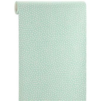 BEHANG POLKA MINT/WIT