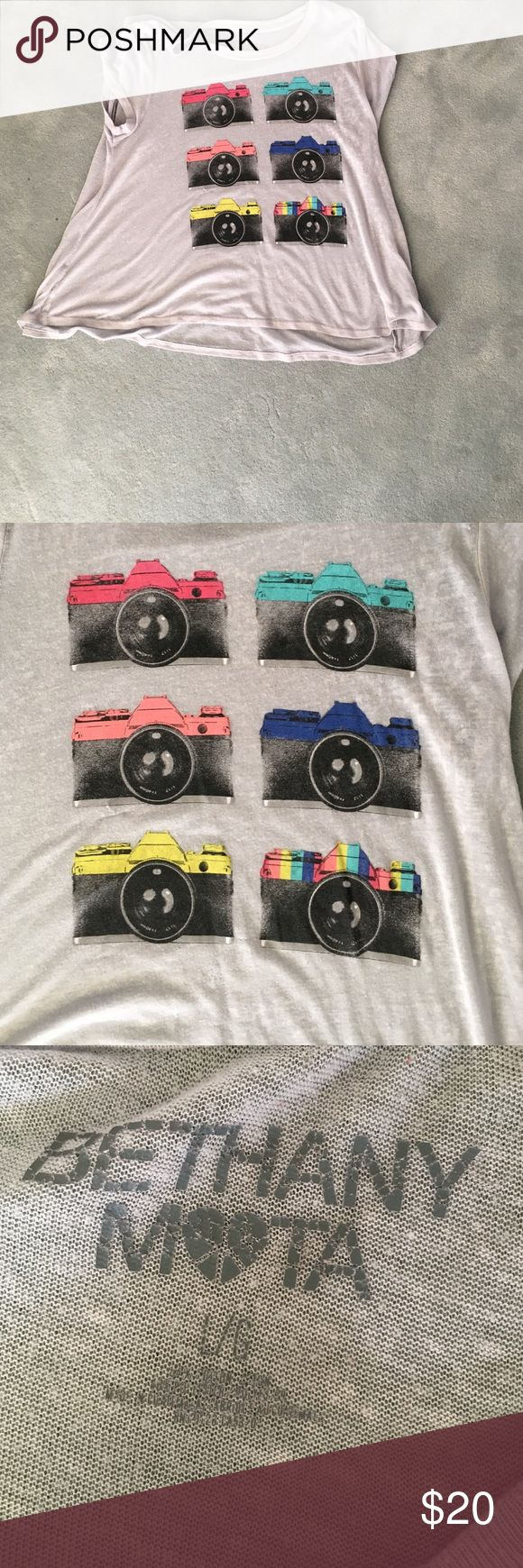 Bethany Mots camera tee shirt sheer gray tee with camera designs on it Aeropostale Tops Tees - Short Sleeve