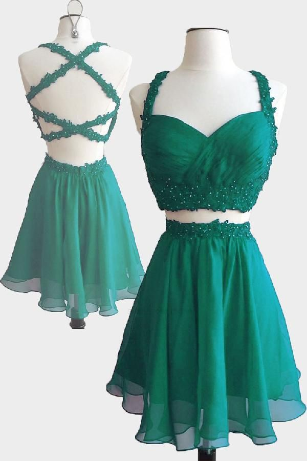 Outlet Dazzling Prom Dress Short, Cute Prom Dress, Green Prom Dress, Two Pieces Prom Dress