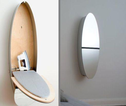 Nils Wodzak による『Mirror Iron Board Closet』は、モダンな壁掛けタイプの鏡の内部に、なんと「アイロン台」を作ってしまう