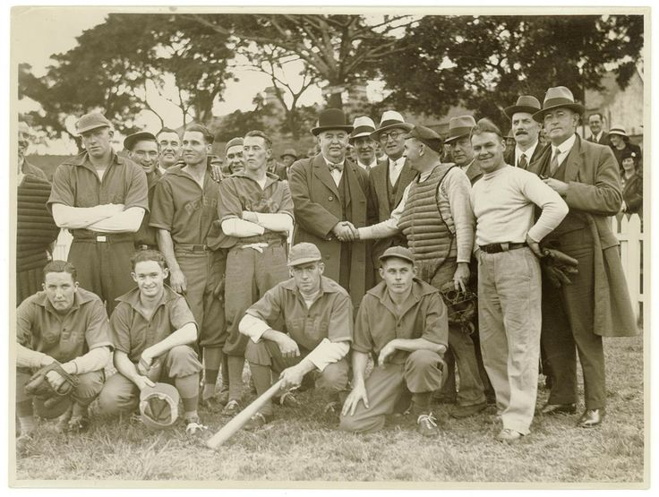 Baseball team from the Peters ice cream factory, Sydney, 1930s. Sam Hood Collection, Mitchell Library, State Library of New South Wales: http://www.acmssearch.sl.nsw.gov.au/search/itemDetailPaged.cgi?itemID=153676