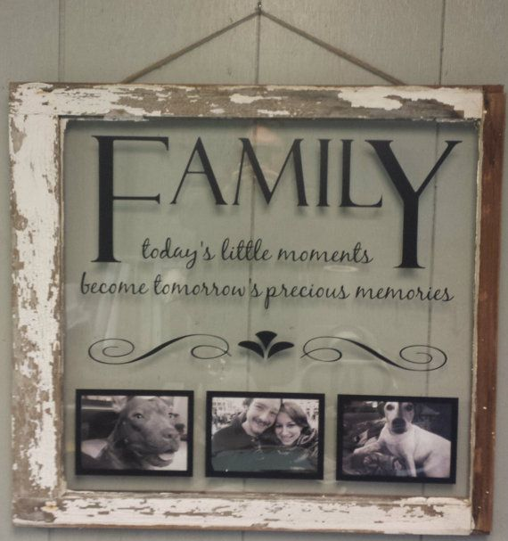Vintage Window Single Pane Picture Frames by VaughnCustomCreation, $75.00. Family. Moments. Memories. PERSONALIZED FOR YOU. Home Decor. Family Room. Wedding. Marriage. Anniversary Gift. Window Picture Frame.