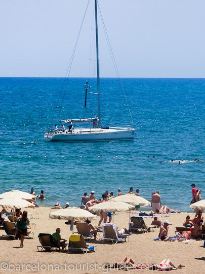 Sailing and swimming are popular activites at the beach. Going to some beaches in Barcelona!