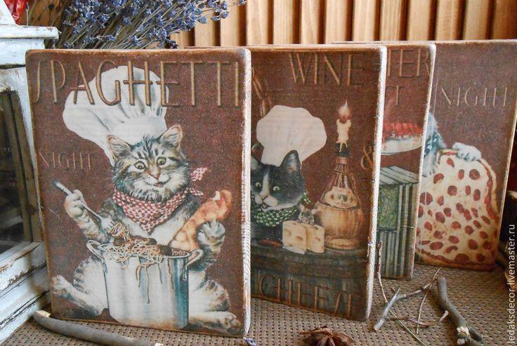 """Купить Панно для кухни """"Коты-аристократы"""" - панно на стену, панно настенное, панно, панно для кухни"""