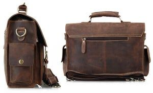 Vintage Handmade Crazy Horse Leather Briefcase / Messenger / 13″ Laptop or 13″ MacBook Bag (n23-3)