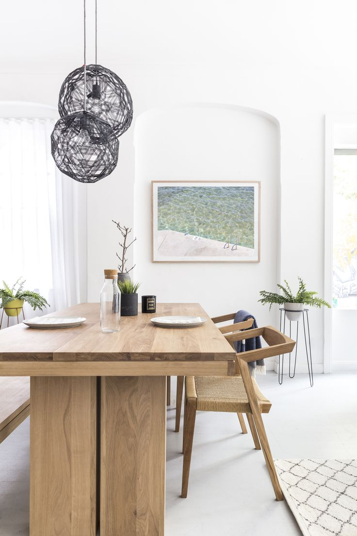 A big sturdy wooden dining table should be at the heart of any home. This Ethnicraft Oak Dining Table, paired with the Urban Loom chairs, create a space perfect for big family gatherings and slap-up breakfasts with friends.