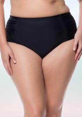 Jessica Simpson Women's Plus Size Shirred High Waist Swim Bottom - Black - 1X