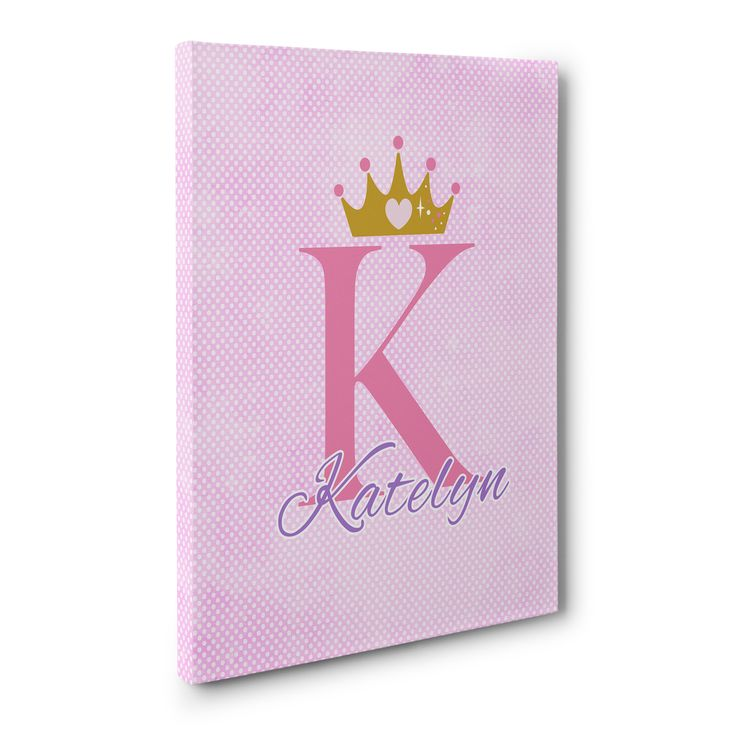 princess wall art, princess crown customized canvas print, princess bedroom, Pink Polka Dot Customized Princess Canvas