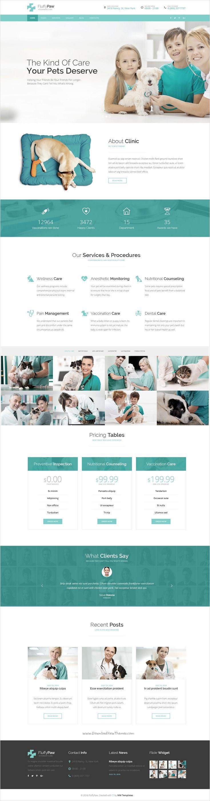 FluffyPaw is modern design PSD template for veterinary and petcare clinic website. Brought to you by WebsitesYES.com